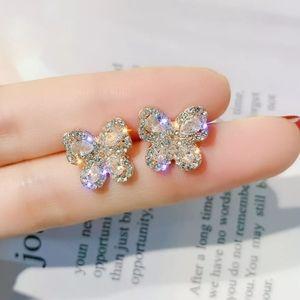 NEW 18k White Gold Diamond Butterfly Stud Earrings